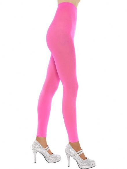 1980's Neon Pink Footless Tights